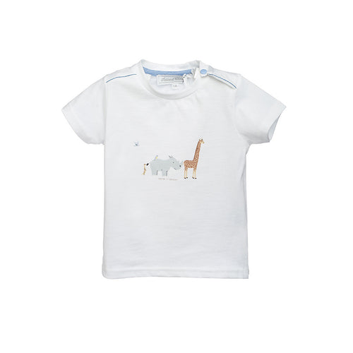 Boys White Animal Printed T-Shirt