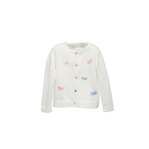 Girls Cream Butterfly Embroided Cardigan
