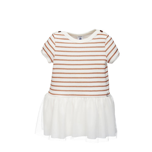 Girls Gold/White Striped Tulle Dress