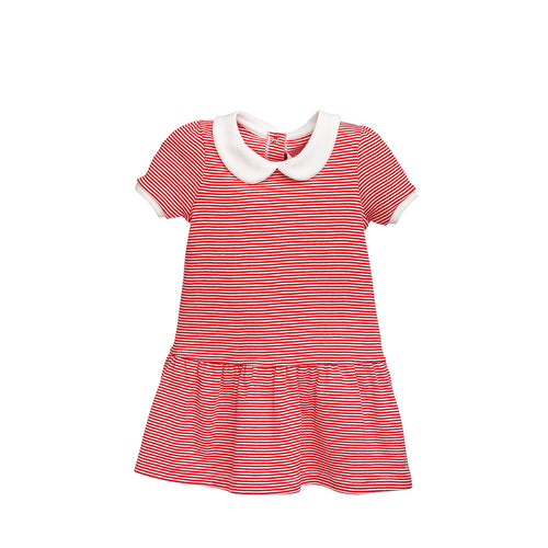 Girls Red Striped Cotton Dress