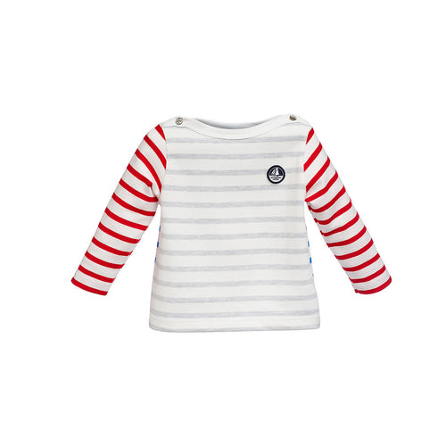 Baby Boys Grey/Blue/Red Striped Cotton Top