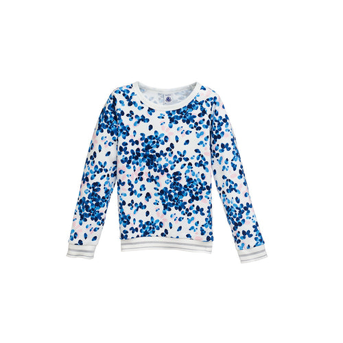 Girls Blue Printed Sweatshirt