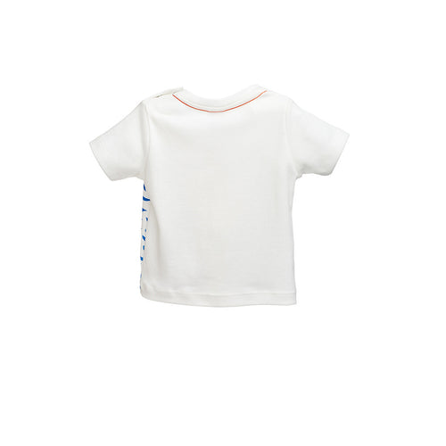Boys White/Blue Printed T-Shirt