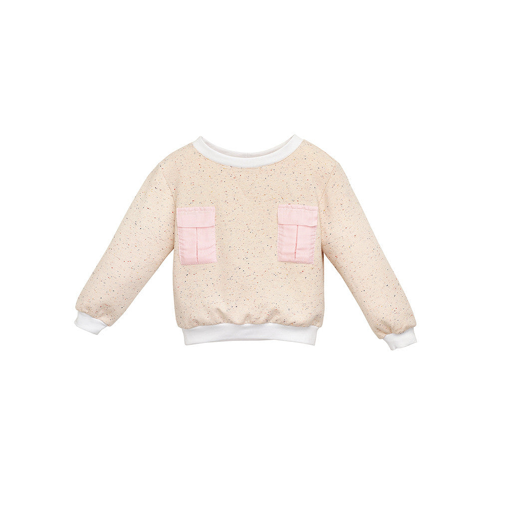 Cream Jersey Girls Sweatshirt with pockets
