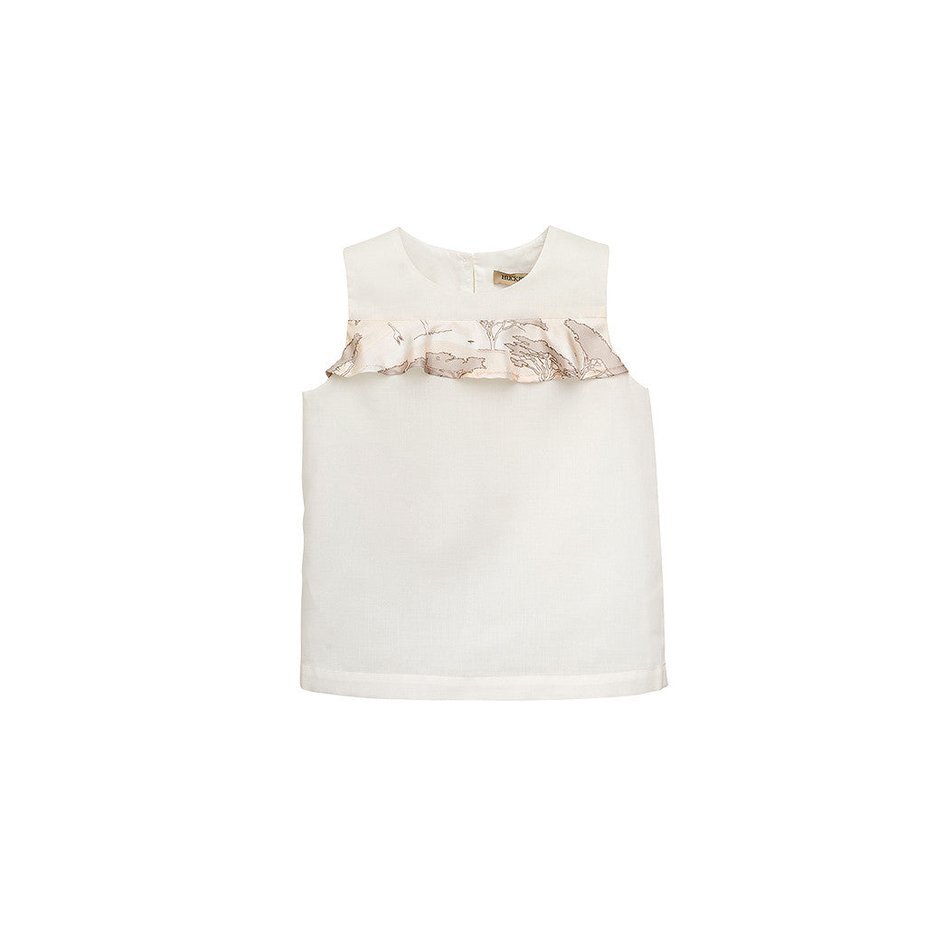 Girls White/Pink Ruffle Shell Top