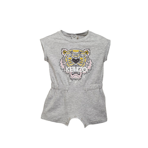 Baby Girls Grey Tiger Playsuit