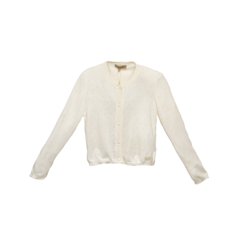 Girls White Cashmere/Cotton Cardigan
