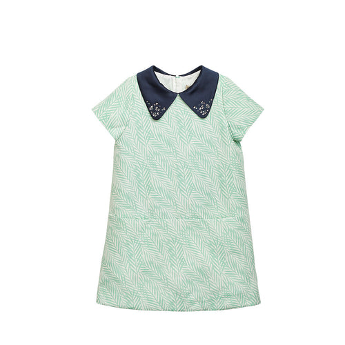 Girls Green Palm Shift Dress with Swarovski