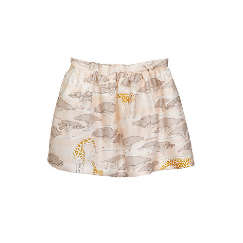 Girls Pink Printed Silk Gathered Skirt