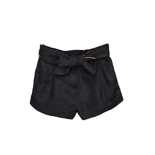 Girls Black Linen Shorts with belts
