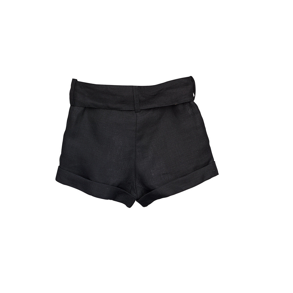 Black Linen Girls Shorts with belts