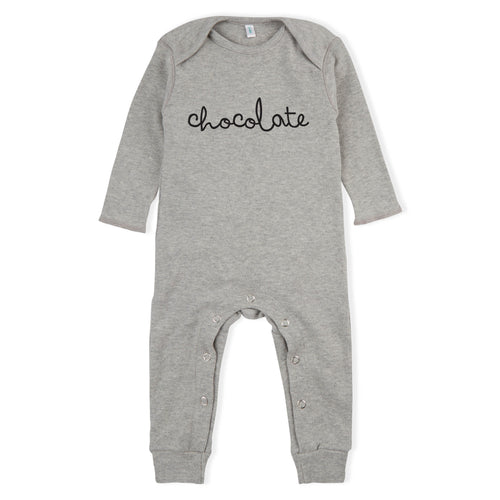 Organic Zoo Grey Chocolate Baby Playsuit