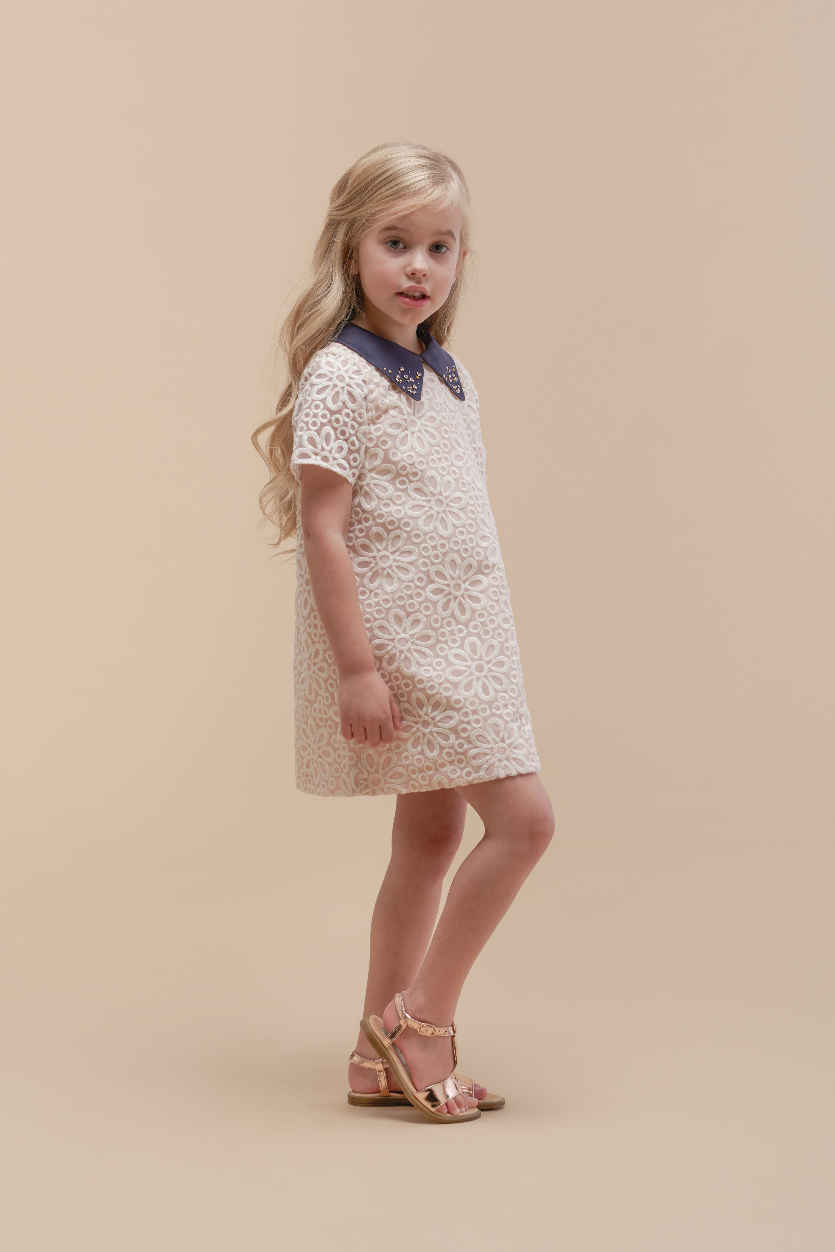 Girls Battenburg Shift Dress with Swaroski
