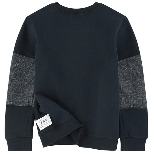 BOYS ALPHABET PULLOVER SWEATSHIRT BLUE BLACK