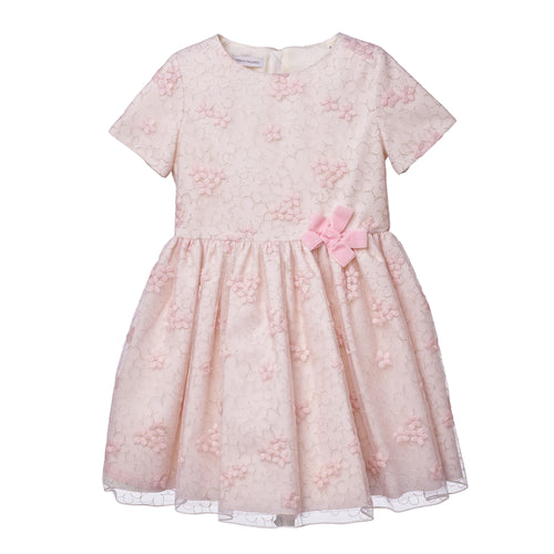 Girls OFF WHITE/PINK EMBR LUREX WOOL ON NET DRESS
