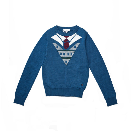 Boys BLU/MULTICOLOR WOOL KNIT