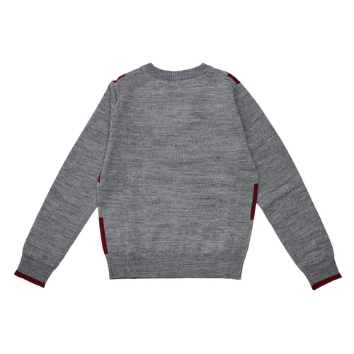 Boys GREY/RED V NECK WOOL PULLOVER