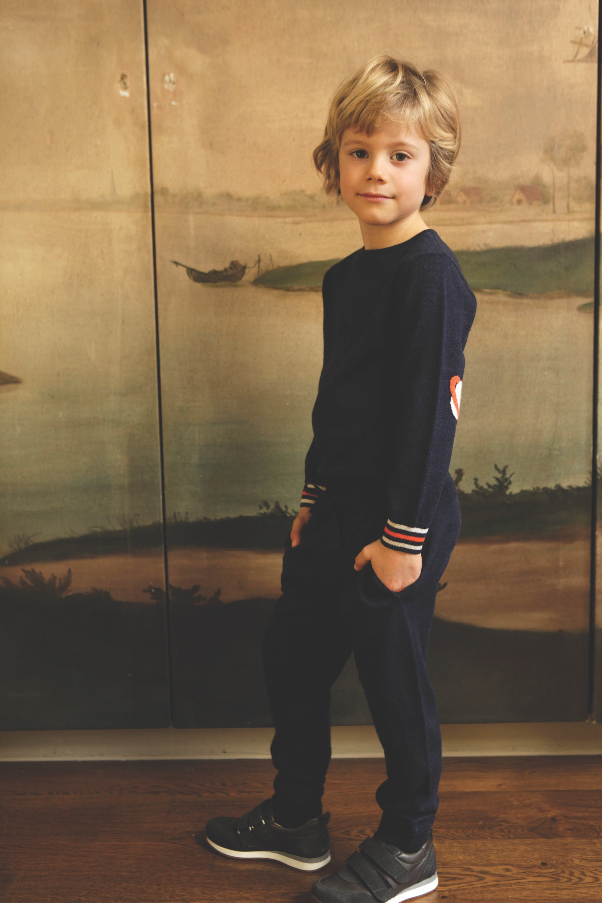 BOYS Navy Merino Patch Trouser