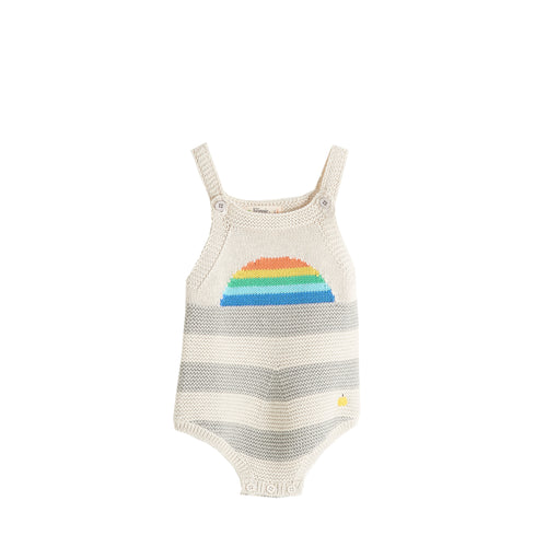 BABY BOY/GIRL RAINBOW STRIPEY SUN RISE INTARSIA KNITTED ROMPER