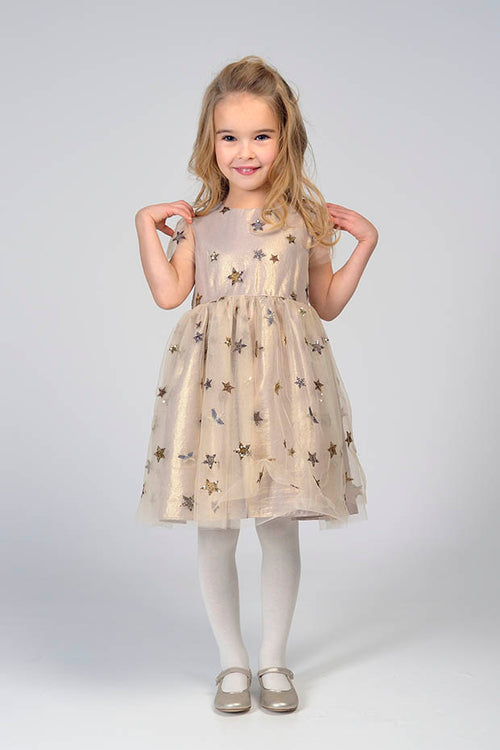 GIRLS GOLD STARS TULLE DRESS