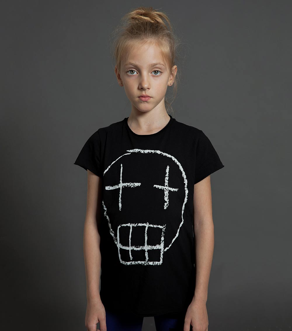 Nununu Sketch Skull T-Shirt Black