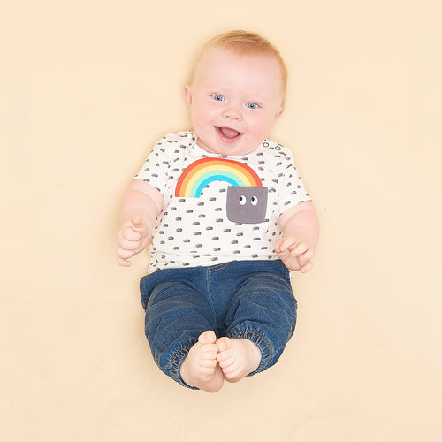 BABY BOY/GIRL RAINBOW POCKET APPLIQUE SHORT SLEEVE T SHIRT
