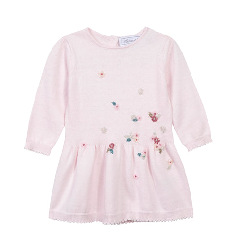 Girls Pale Pink Beaded Flowers Dress
