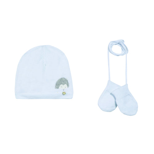 BABY UNISEX Sky Blue Cap and Mitten