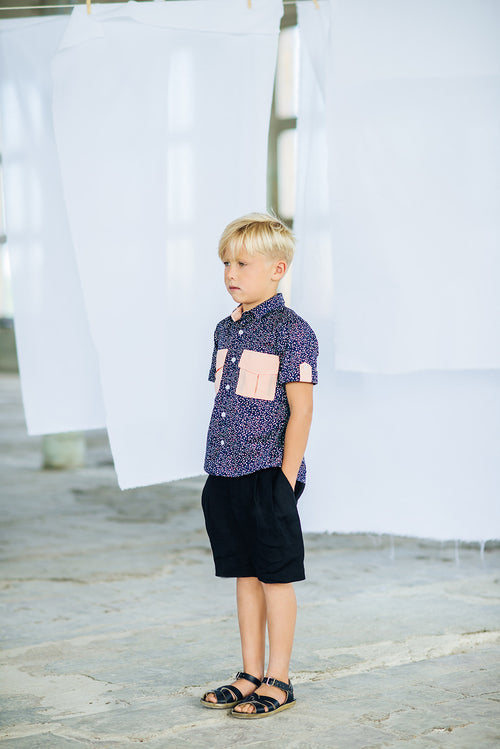 Navy Heather Boys Shirt with Pockets