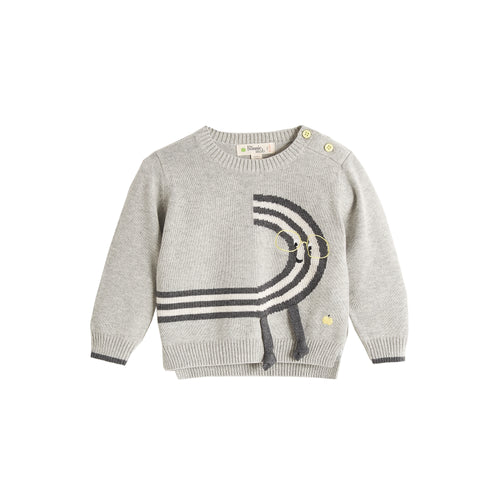 BABY BOY MONOCHROME RAINBOW DUDE INTARSIA SWEATER