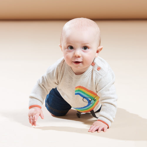 BABY BOY/GIRL RAINBOW DUDE INTARSIA SWEATER