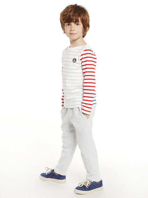 Boys Grey/Blue/Red Striped Cotton Top