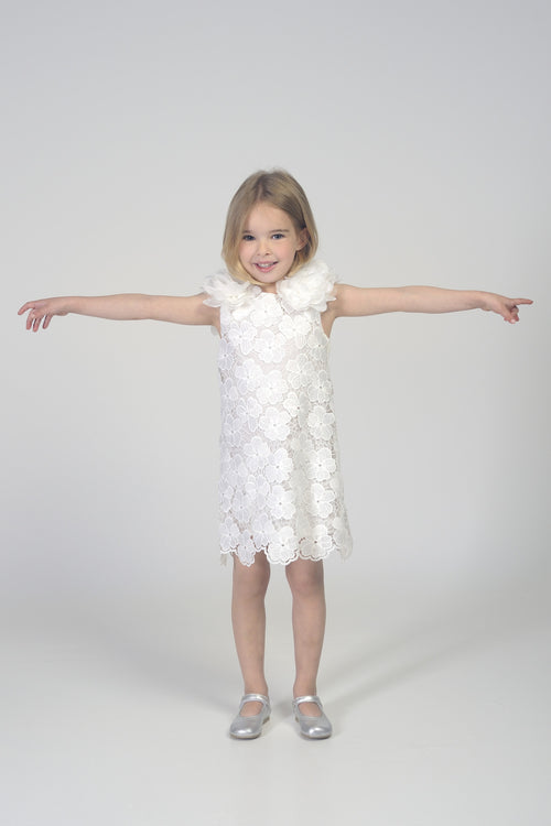 Girls White Lace Dress with Flower
