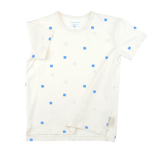 Kids off-white/cerulean blue squares dots SS tee-shirt