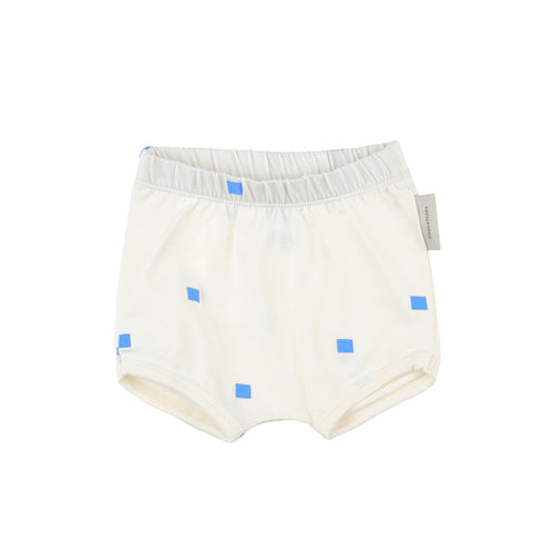 Baby off-white/cerulean blue squares dots bloomer