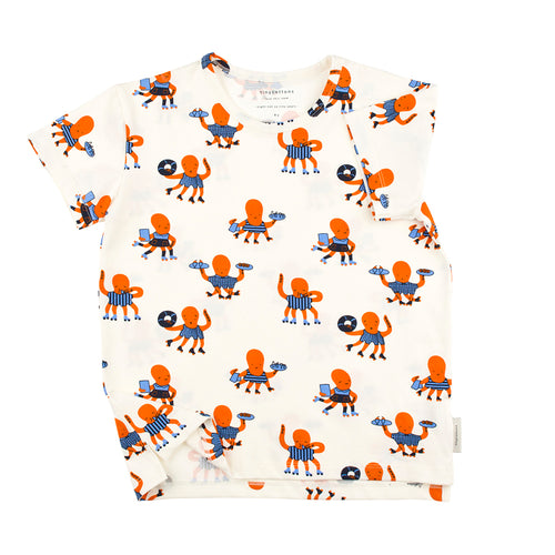 Baby & Kids off-white/cerulean blue/brick octopus SS tee-shirt