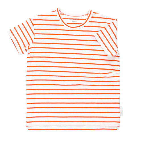 Kids off-white/carmine small stripes SS tee-shirt