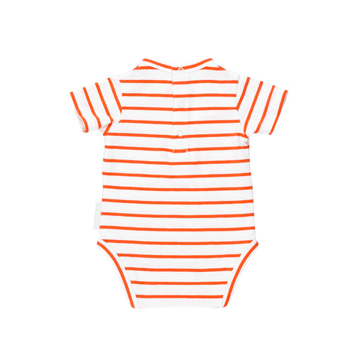 Tinycottons White and Carmine Striped Bodysuit