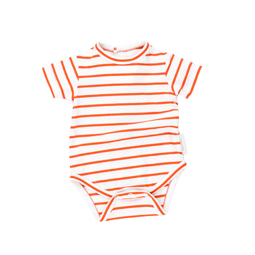 Baby off-white/carmine small stripes SS bodysuit
