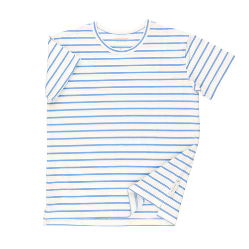 Kids off-white/cerulean blue small stripes SS tee-shirt