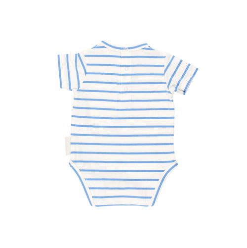 Baby off-white/cerulean blue small stripes SS bodysuit