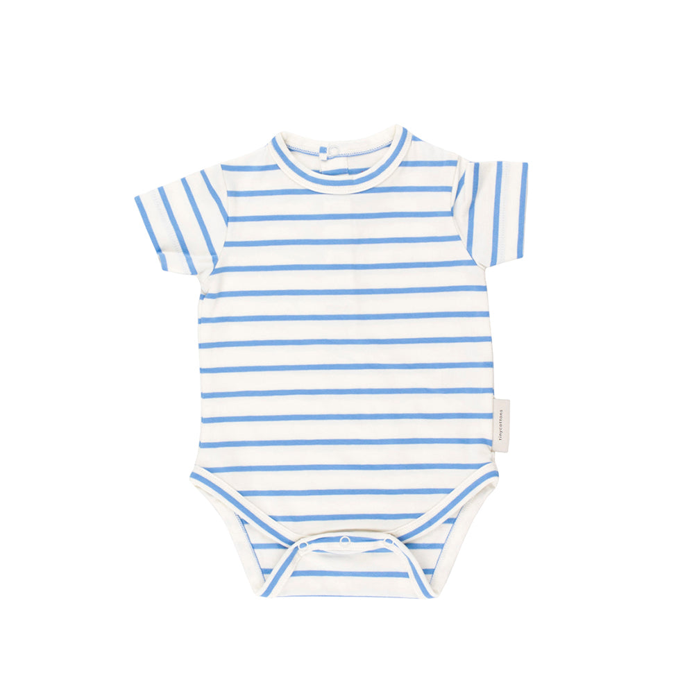 Tinycottons White and Cerulean Striped Bodysuit