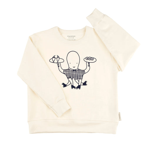 Baby & Kids off-white/navy octopus graphic FT sweatshirt
