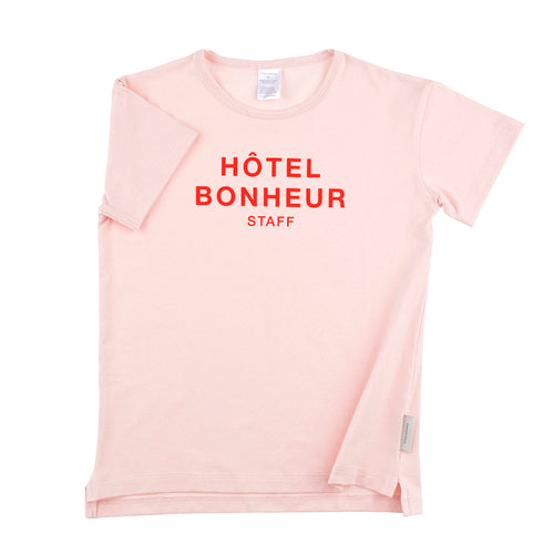 Baby & Kids light pink/carmine big hotel bonheur staff SS relaxed graphic tee-shirt
