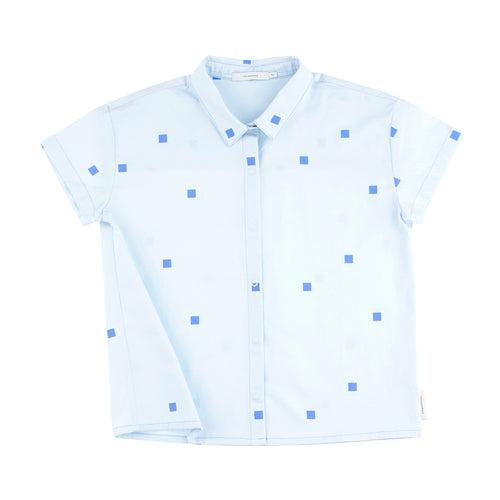 Tinycottons Blue Square Dot Button Down Shirt