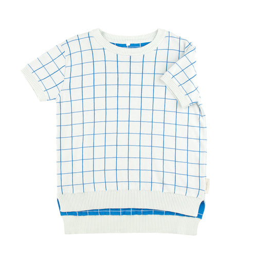 Kids light blue/cerulean blue grid SS sweater