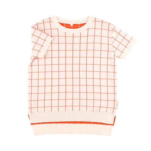 Kids light pink/carmine grid SS sweater