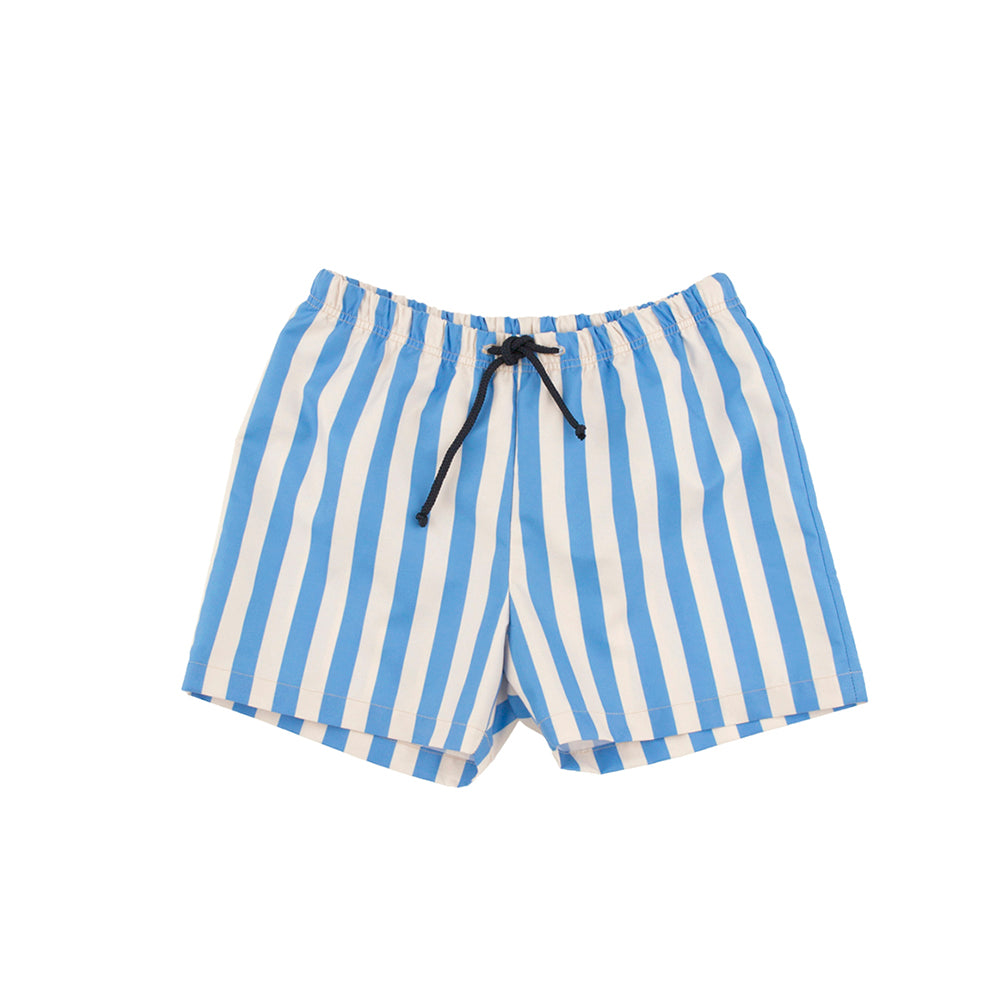Tinycottons Stone and Cerulean Blue Striped Swim Trunks