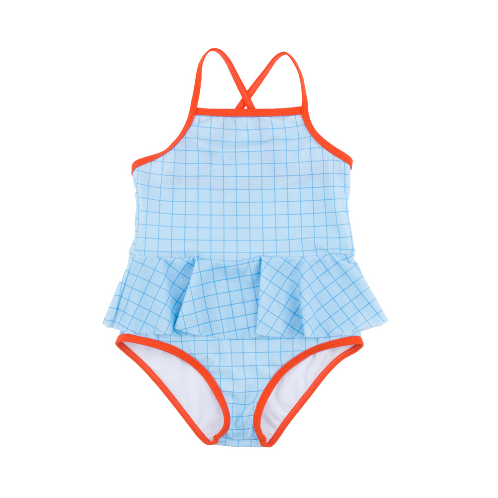Tinycottons Cerulean Grid Girls Swimsuit