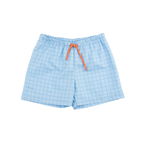 Tinycottons Cerulean Blue Grid Swim Trunks